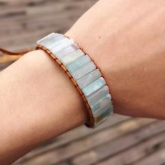 Chakra Bracelet Jewelry Handmade Multi Color Natural Stone Tube Beads Leather Wrap Couples Bracelets Creative Gifts Amazon stone