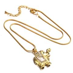 Women's Fashion Crystal Rhinestone Elephant Pendant Necklace Jewelry Gift White Crystal