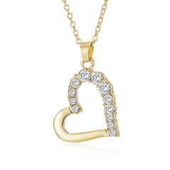 Fashion Crystal Heart Pendant Necklace Women Jewelry Gift Gold