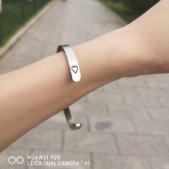 6mm Open Cuff Bangles for Women Keep Going Arrow Heart Symbol Bracelet Stainless Steel Encourage Words Bracelet Jewelry Gift heart