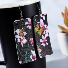 Geometric Bar PU Leather Earrings Lightweight Floral Pattern Earrings Black