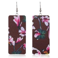 Geometric Bar PU Leather Earrings Lightweight Floral Pattern Earrings Brown
