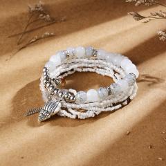 Women Bohemian Beaded Adjustable Bracelet & Bangle Rice Beads Elastic Bracelet Set Jewelry conch 1