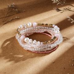 9Pcs/Set Women Bohemian Beaded Adjustable Bracelet & Bangle Rice Beads Elastic Bracelet Set Jewelry Beads 1