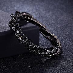 3 winding rhinestone bracelet fashion multi-color ladies exquisite bracelet bridal party jewelry accessories gift black