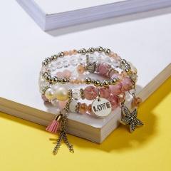 Rinhoo 3pcs Set beads Bracelets Bohemia starfish Love Tassel elasticity Bracelets Charm Jewelry Bracelet Gift 2019 For women pink