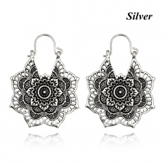 Retro Gold Silver Plated Carving Flower Shape Drop Dangle Earrings Silver