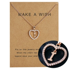 G-K Letter Crystal Heart Necklace Pendant Sweater Women Charm Jewellery I