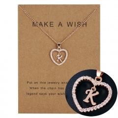 G-K Letter Fashion Crystal Heart Necklace Pendant Sweater Women Chain Jewelry K