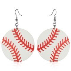 Fashion Women Sport Ball Leather Earrings Boho Teardrop Dangle Ear Stud Jewelry baseball