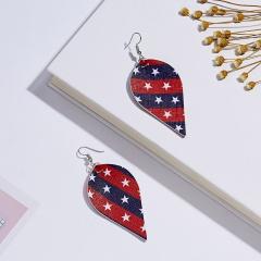 Fashion Earrings Flag Stars Leather Leaf Women Boho Ear Hook Earrings Holiday Red Blue Leaf