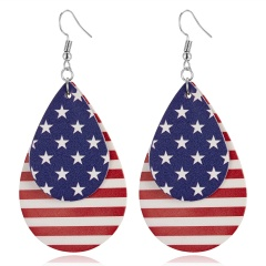 Fashion Women American Flag Star Heart Water-Drop Shape Earrings Pu Leather Ear Studs Women Jewelry Gift Double Layer