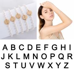 Rinhoo New 26 Letter pearl Bracelet gold alloy initial letter pearl chain bracelet charm jewelry gift For women girls bracelet letter A