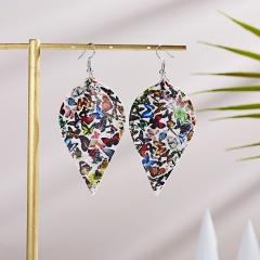 Bohemian Animal Butterfly Print Drop Earrings For Women Vintage Waterdrop Leaf Leather Dangle Earring Gift Jewelry Leaf