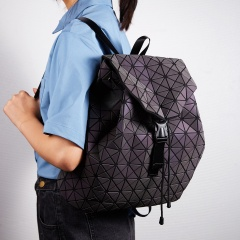 Women Luminous Backpack Geometric Shoulder Bag Folding Girl Geometric Fold Student School Bags schoolbag