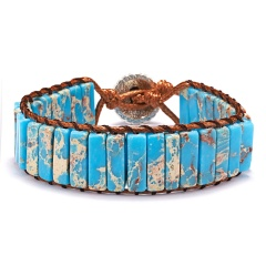 Vintage Braid Bracelets Natural Stone Round Beads Leather Wrap Bracelet for Women Multilayer Boho Bracelet Handmade Jewelry light blue