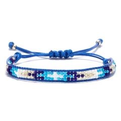 Rinhoo Bohemian Beaded Braided Rope Bracelet Multicolor small Beads Weave Chain adjustable bracelets jewelry gift for women girl Royal blue
