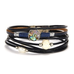 Rinhoo leather bracelet fashion Multiple Layer Leather Bracelet High quality For women girls jewelry gift black