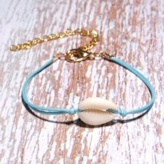 Seashell Bracelet Lucky String Bracelets for Women Girls Couple Jewelry Rope Chain Bracelet Love Gifts white-blue
