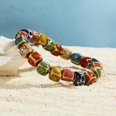 Rinhoo Ceramic stone beaded Bracelet Boho Multicolor flower Square Round stone beads elastic bracelet summer women bracelet gift Square beads