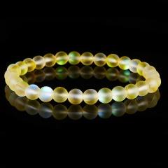 Rinhoo Multicolor Moonstone Bead Bracelet Fashion Frosted Moonstone elasticity Bracelet New arrived Jewelry gift For women man yellow