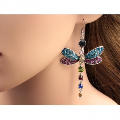 Vintage Multicolor Dragonfly Birthstone Diamond 925 Sterling Silver Hook Earrings Women's Fashion Jewelry Gifts dragonfly