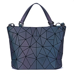 Luminous bag Women Geometry Tote Quilted Shoulder Bags Hologram Laser Plain Folding Handbags geometric Large capacity Large Size