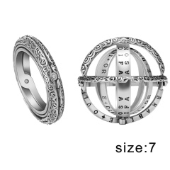 7-10 Stainless Steel Creative Astronomical Ball Ring Sphere Constellation Retro 7-Silver