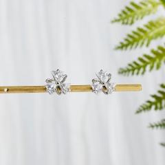 3 Color Zircon Stud Earrings Geometric Crystal Earring Jewelry for Women Girls White