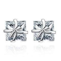 Cute Bowknot Square Stud Earrings Crystal Dangle Earrings Bowknot-White