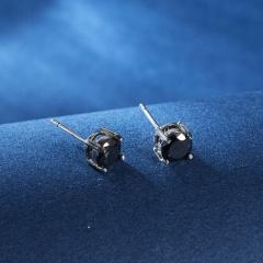 Fashion Women Men Clear Cubic Zirconia CZ Ear Stud Earrings Jewelry Gift Black