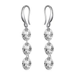 Shiny Crystal Dangle Earrigns Geometric Zircon Earrings Birthday Girls Gifts Oval