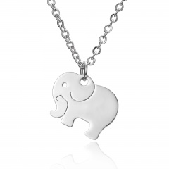 Silver Stainless Steel Animal Cat Elephant Pendant Necklace Fashion Jewelry Gift Elephant