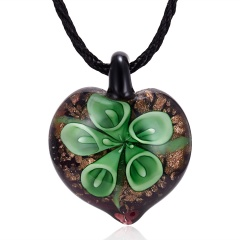 Handmade Lampwork Murano Glass Heart Flower Pendant Necklace Green
