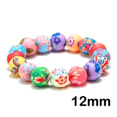 Rinhoo Multicolor Soft pottery beads bracelet Painted Flower beaded Elastic bracelet Ethnic Bohemia jewelry gift for women girl 12mm