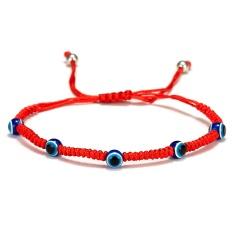 Rinhoo 5 Style evil Eye Weave Red Rope Bracelet blue eyes palm Braided adjustable bracelet Fashion lucky jewelry for women kids 5 blue eyes