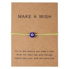 Fashion Turkish Lucky Evil Eye Bracelets Women Handmade Rope Card Gifts Green