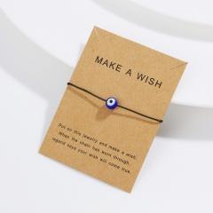 Rinhoo with card Turkish Lucky Evil Eye Bracelets 5 Colors weave Rope blue eye bracelet lucky charm Jewelry gifts for women kids black