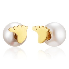 Fashion Stainless Steel Pearl Hollow Music Note Heart Stud Earrings Women Jewelry Footprint