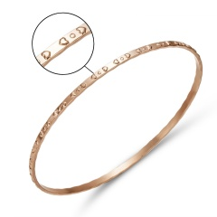 Rose Gold Smooth Round Surface Patchwork Square Hollow Twisted Embossed Bracelet Women Men Simple Bangle Metal Bracelet Jewelry rose gold 2