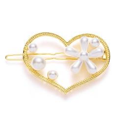 Fashion girls Hollow love flower pearl geometric oval star round hairpin heart