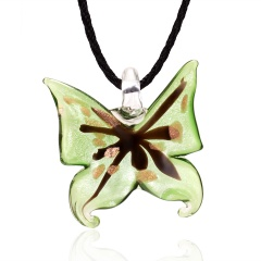 Handmade Lampwork Murano Glass Butterfly Pendant Necklace Green