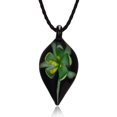 Gold Foil Drop Flower Leaf Lampwork Glass Murano Pendant Necklace Green