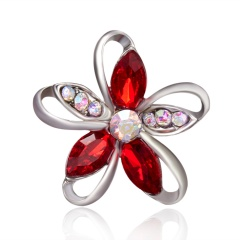 Rinhoo Rhinestone Silver Flower Brooches for Women Men Wedding Bridal Party Round Bouquet Brooch Pin Vintage Fashion Jewelry Flower-red