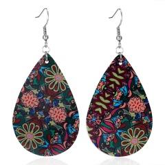 Simple Water Drop Leather Flower Earrings for Women Fashion Dangle Teardrop Flower Printing Jewelry Teardrop