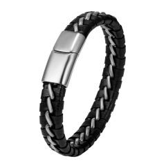 Men Leather Bracelet Black