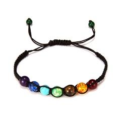 8mm Big Beads 7 Chakra Bracelet Yoga Bracelet Healing Balance Supernatural Lava Reiki Stones Beads Bracelet Women Jewelry Seven chakras