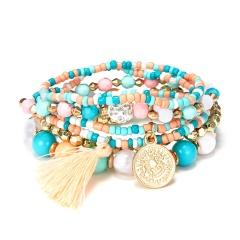 6PCS/Lot Bracelet Women Fashion Beads Bracelets Multilayer Seed Bead Coin Charm Tassel Bracelet Set Female Wristband Jewelry Party Gift 6pcs/set Bracelet 1