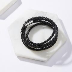 Rinhoo Punk 96cm Long Leather Wrap Bracelets for Men Classic Black Color Multilayer Braided Male Bracelet Wristband Jewelry Gift Black