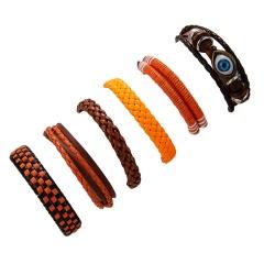 RINHOO Wholesale Vintage Casual Leather Bracelets Charm Multilayer Braid Wrap Bracelets Bangles Punk Male Rope Chain Men Jewelry Bracelet 4